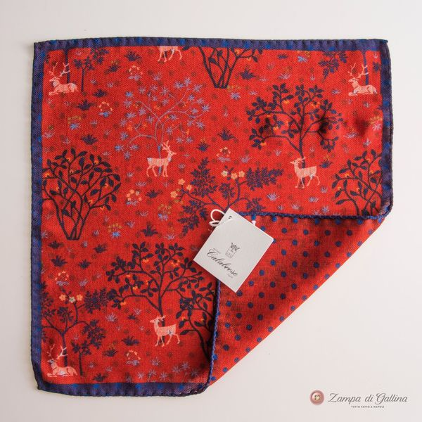 Double-sided Red with patterns Calabrese 1924 Pocket square hand-tipped