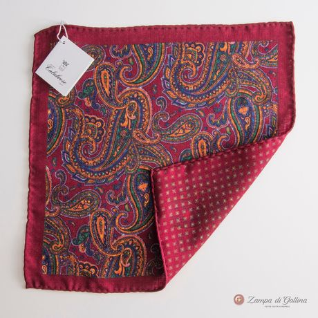 Green and Red Paisley Pattern Lana Wool Pocket Square Calabrese 1924 RNLeGErD