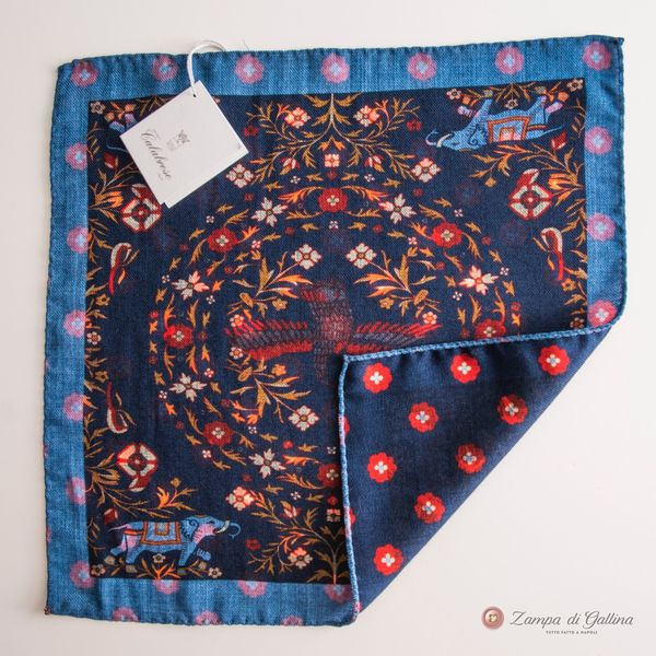 Doble-sided Blue with Elephant patterns Calabrese 1924 hand-tipped Pocket square