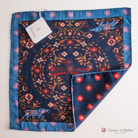 Double-sided Blue with Elephant patterns Calabrese 1924 hand-tipped Pocket square