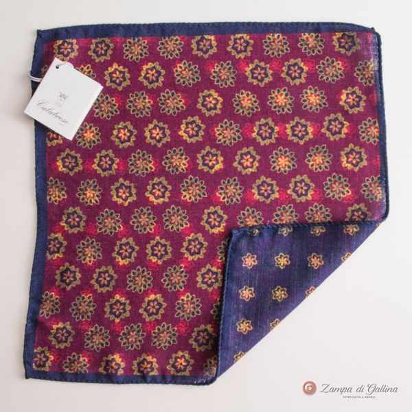 Doble-sided Violet with Flower patterns Calabrese 1924 hand-tipped Pocket square