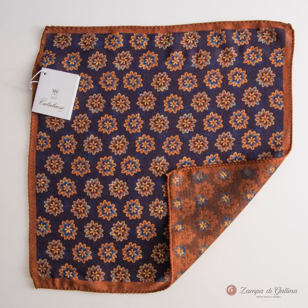 Doble-sided Purple with Flower patterns Calabrese 1924 hand-tipped Pocket square