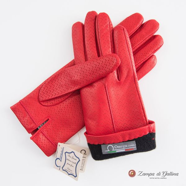 Hermes Red lambskin gloves with cashmere lining for women