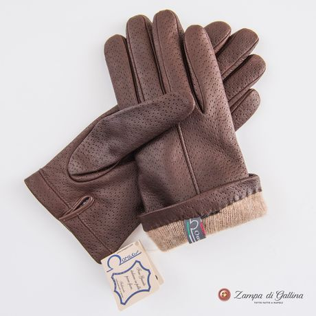 Brown lambskin gloves with cashmere lining for women