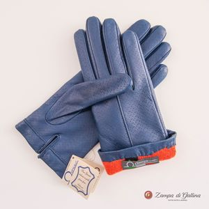 Capri Blue lambskin gloves with cashmere lining for women