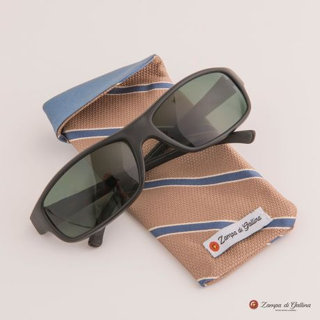 Beige with blue stripes double-sided Eyewear Pocket Square