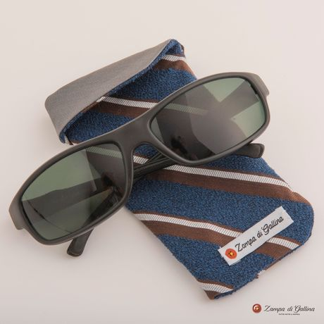 Blue with brown and white stripes double-sided Eyewear Pocket Square