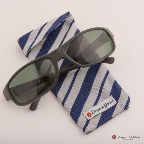 Blue and white striped double-sided Eyewear Pocket Square