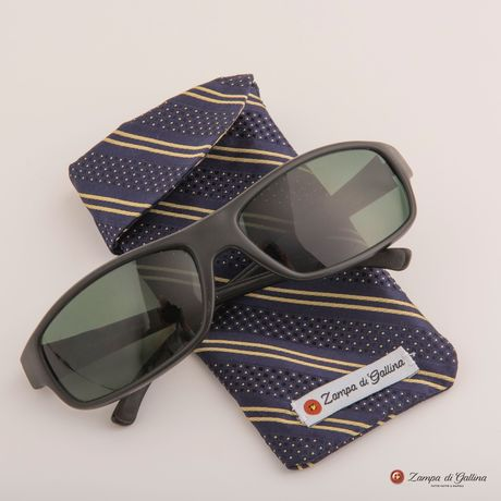 Blue with yellow stripes double-sided Eyewear Pocket Square