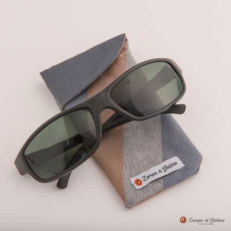 Blue, Grey and Brown striped double-sided Eyewear Pocket Square