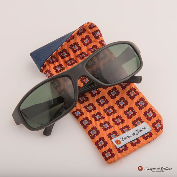 Orange with patterns double-sided Eyewear Pocket Square