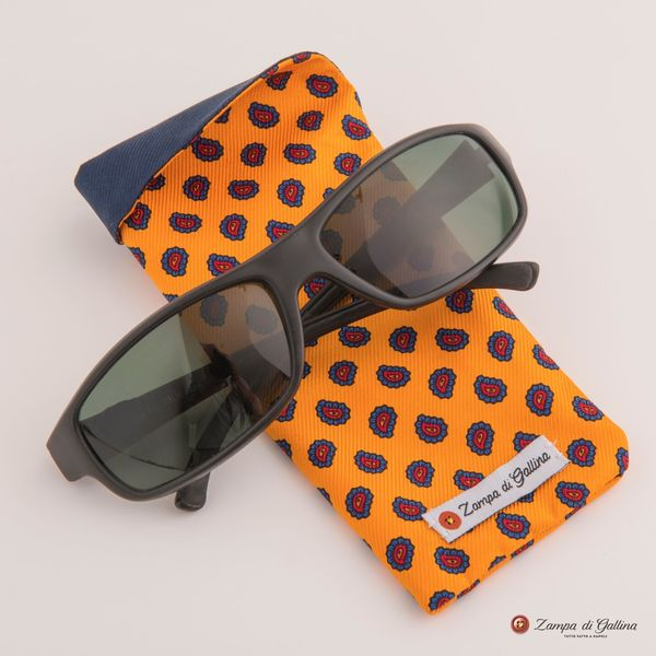 Yellow with paisley patterns double-sided Eyewear Pocket Square